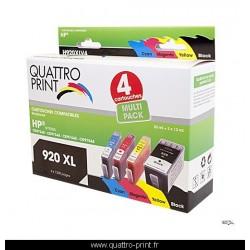 Pack 4 cartouches d'encre Quattro Print compatible HP 920XL