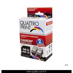 Pack 2 cartouches d'encre Quattro Print compatible Canon PG-540 XL / CL-541 XL