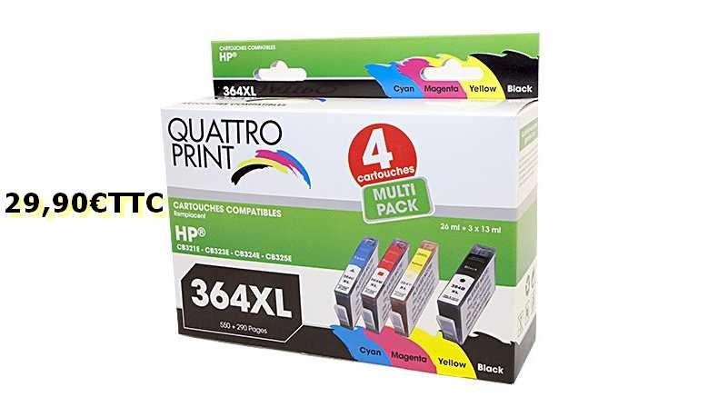 Pack 4 cartouches d'encre compatible HP364XL