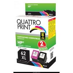 Pack 2 cartouches 62XL Quattro Print hp envy 5540 cartouche