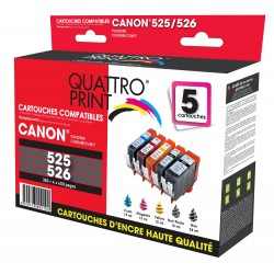 Pack 5 cartouches d'encre compatible Canon PGI-525 / CLI-526