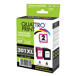 Pack 2 cartouches d'encre compatible HP 301XL noire et 301XL couleur