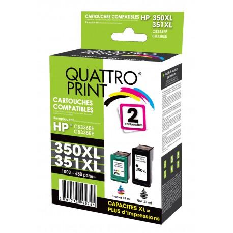 Pack 2 cartouches d'encre Quattro Print compatible HP 350XL / 351XL