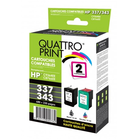 Pack 2 cartouches Quattro Print compatible HP 337 / HP 343