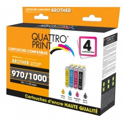 Pack 4 cartouches d'encre compatible Brother LC-970 / LC-1000