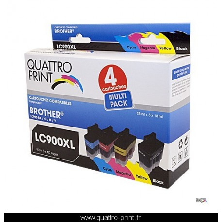 Pack 4 cartouches Quattro Print compatible LC-900
