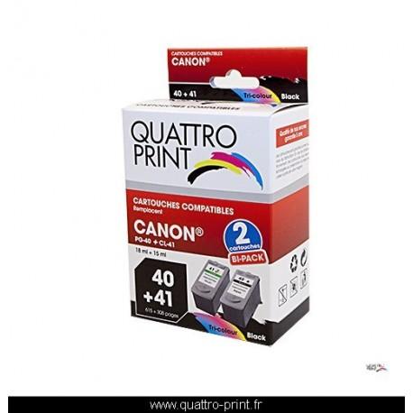 Pack 2 cartouches d'encre Quattro Print compatible Canon PG-40 / CL-41
