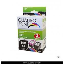Pack 2 cartouches d'encre compatible HP 300XL
