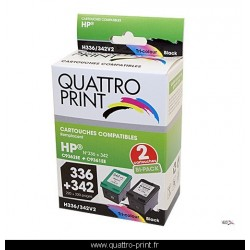 Pack 2 cartouches d'encre compatible HP 336 / HP 342