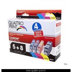 Pack 4 cartouches d'encre compatible Canon PGI-5 / CLI-8M / CLI-8Y / CLI-8C