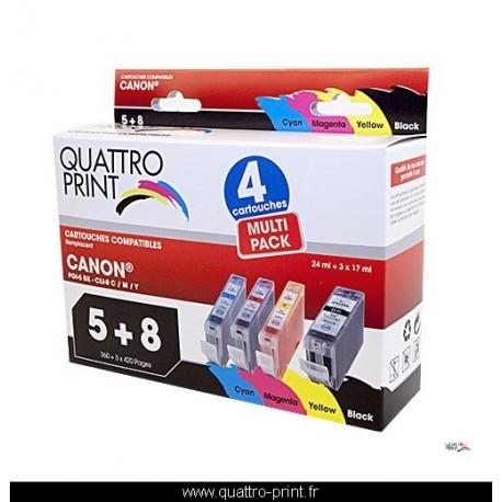 Pack 4 cartouches Quattro Print compatible Canon PGI-5 / CLI-8M / CLI-8Y / CLI-8C