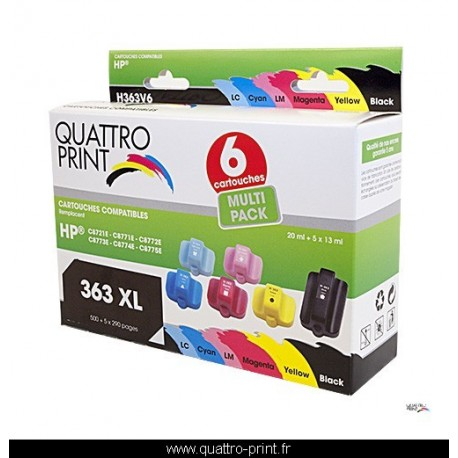 Pack 6 cartouches Quattro Print compatible HP 363XL