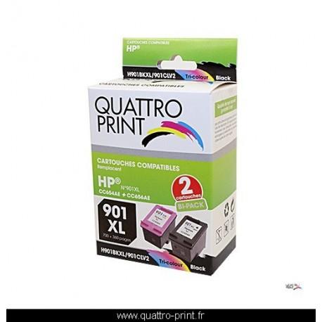 Pack 2 cartouches d'encre Quattro Print compatible HP 901XL HP901CL