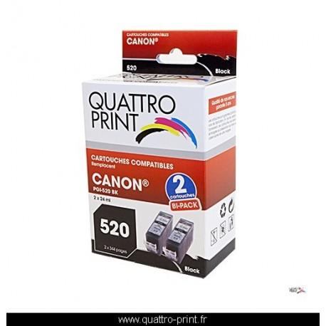 2 cartouches noires QuattroPrint compatible Canon PGI-520