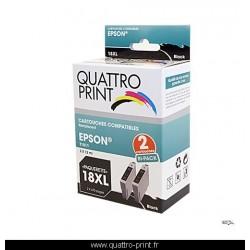 Pack 2 cartouches d'encre noire compatible T1811